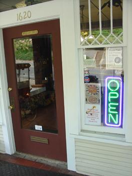 The bookstrores front door.