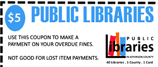 $5 Fine Coupon for JCLC Libraries