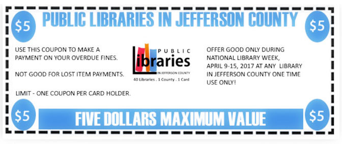 Erase $5 off of Your JCLC Library Fines