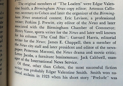 Roster and occupations of the first members of The Loafers.