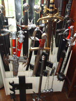 Lots of medieval pieces around the first floor, like these swords. I think its all for sale. I didnt check.