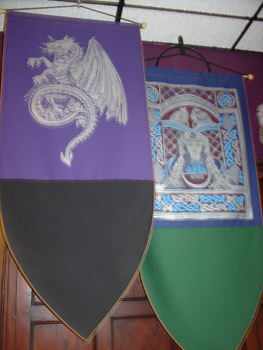 More medieval style stuff. Being in this room with all the blades and banners made me want to read a King Arthur book.